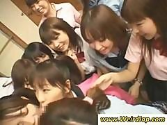Japanese Schoolgirls Taking Turns Sucking On This One Guy's Cock