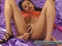 Petite Asian Babe Strips And Dildo Part5