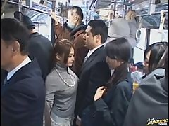 Naughty Asian Schoolgirl Giving a Blowjob In The Crowded Bus