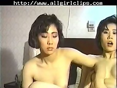 Amateur Korean lesbians in 3some with guy