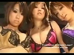 Ayako and 2 other girls playing with one cock