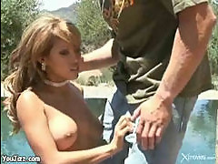 Haylee Le fucks outdoors