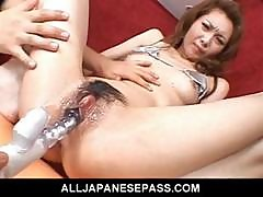 Rika Sakurai Japanese Babe Gets Her Pussy Fucked With A Huge Dildo