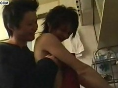 Japanese teen gays anal fuck in a kitchen
