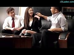 Office Lady Dominated By 2 Bosses Getting..