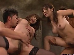 Asian sweethearts at erotic broadcast scenes