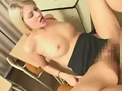 Blonde european girl fucks with asian guy a