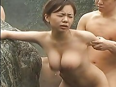 Petite japanese with big tits gangbanged in public