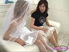 Busty Asian Girl Kissing Getting Her Nipples Sucked Pussy Stimulated With Vibrator Fisted By A Girl In Wedding Dress On The Couch