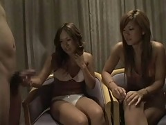 two Japanese girls watching two dicks 1 cfnm