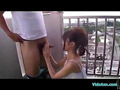 Asian Girl Giving Blowjob Fucked At The Balcony And In The Hotel Room