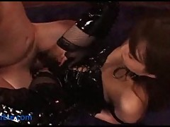 Dominated guy bangs mistress in latex