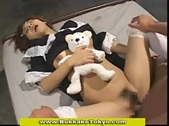 Cute japanese bukkake maid fucked and plastered with sperm