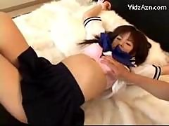 Young Schoogirl In Uniform Tied To Bed Getting..