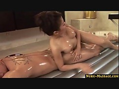 Asian massage using Nuru gel and blowjob