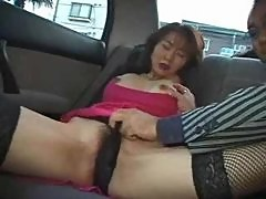 Beauty Hairy Asian Milf Penetrated With Vibrator in Car