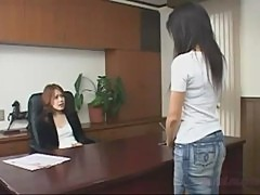 Asian Girl Getting Her Nipples Sucked Hairy Pussy Rubbed And Fingered By Her Boss In The Workroom