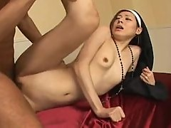 Skinny Japanese nun fucked in her cunt