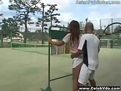 Tennis court asian public sex