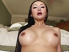Sensual asian brunette with nice boobs sucks meaty cock