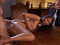 Tempting asian brunette in heels gets slammed on table
