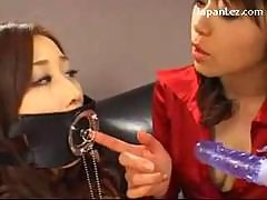 Slave Girl With Mouth Gag Nipple Clips Sucking..