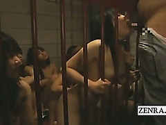 Weird BDSM nudist Japanese slaves give kinky blowjobs