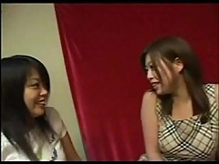 Japanese lesbos in threesome