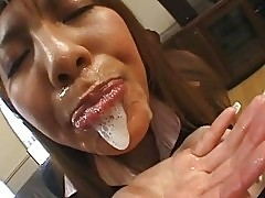Slutty Asian schoolgirl swallows massive jizz load