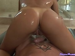 Sexy Oiled Up Asian Babe Teasing and Jerking Off Her Man in the Bathtub